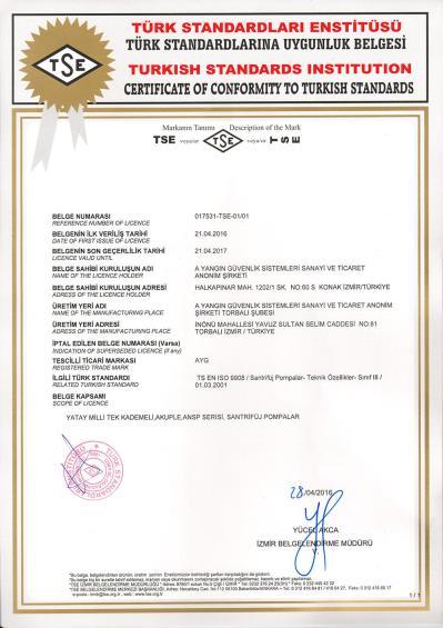 TS EN ISO 9908 Santrifüj Pompalar Teknik özellikler - Sınıf III