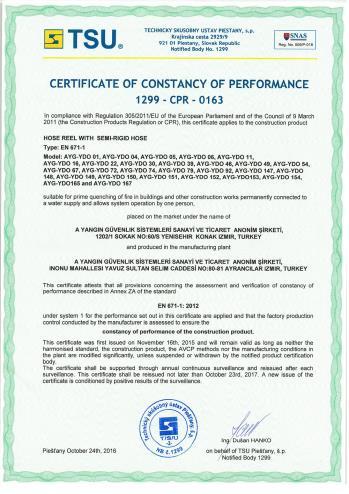 CE EN 671-1_2012 Sabit Yangın Söndürme Sistemleri